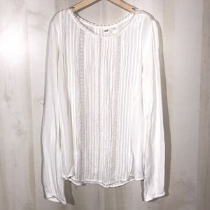 GAP Solid White Dressy Blouse Lace Detail